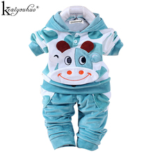 Baby Boy Clothes Sport Suit 2017 Autumn/Winter Sets Rabbit Velvet Long Sleeve Hooded Newbron Girls Clothes Sets Infant Clothing