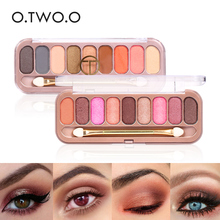 O.TWO.O 9colors Eyeshadow Palette Eyeshadow Shimmer Glitter Luminous With Brush Make Up Eye Shadow For Women Girl Gift(China)