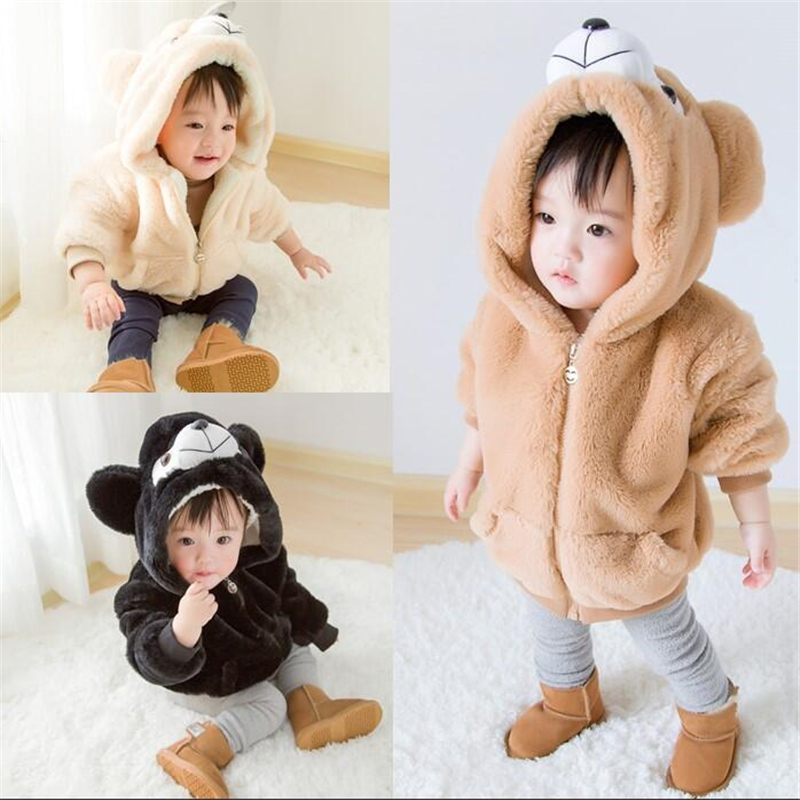2018 Winter Cartoon Bear Design Kids Thick Coat Boys Girls Faux Fur Brushed Clothing Outfits Baby Tops Hooded Coat 1-4T<br>