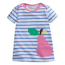 Summer baby girls dress,kids cotton dress,striped dress,cute cartoon patches,3 colors collection,next clothing style (1-6 yrs)(China)