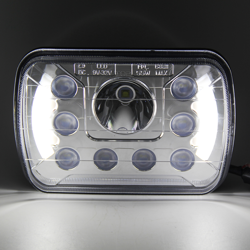 COLIGHT 7x6 7 Inch LED Rectangle Headlights 6500K Led 12V Auto With Angel Eyes DRL for Jeep Wrangler YJ Cherokee XJ Car-styling<br>