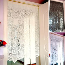 Roman Half Curtain White Lace Retro Gauze Curtain for Living Room Kitchen Cabinet Door 85x150cm Partition Curtain Tulle