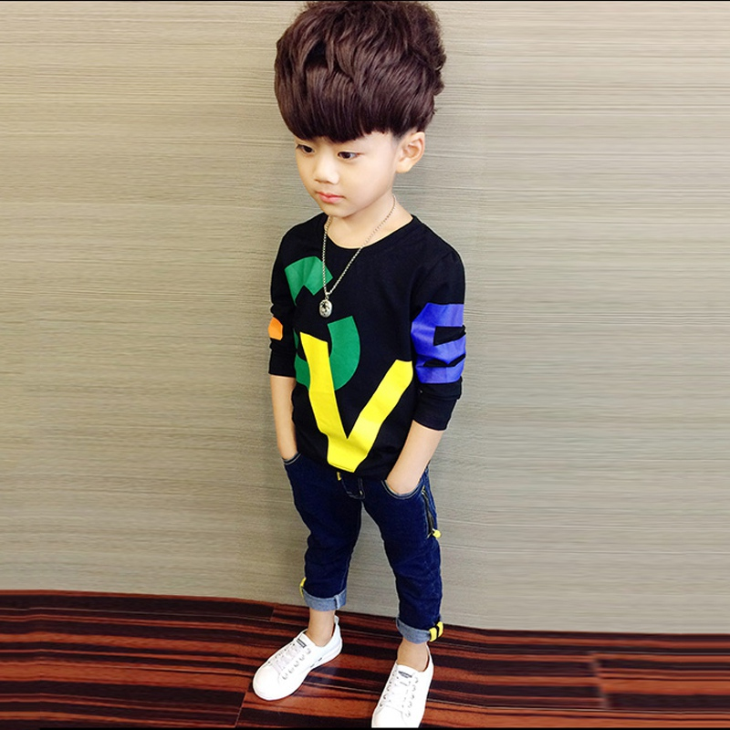 COOTELILI 80-130cm Black T-Shirt Children Tops Letter Kids Clothes Long Sleeve T Shirt Toddler Boys Spring Clothing Costume (5)