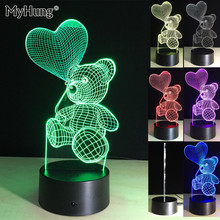Originality 3D Colorful Festivity Light  LED Night Light Balloon Bear Cartoon Creative Lamp Novelty Lighting Lamp For Baby7Color