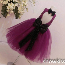 Brand Design Puffy Purple Key-hole Back flower girl dresses with Black Bow baby Birthday Party Dress wedding occasion ball gowns