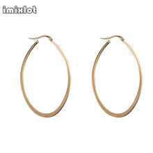 2017 New Real Bone Trendy Geometric Jewelry Color Thin Oval Hoop Earrings For Women Surgical Material Healthy And Anti Allergic
