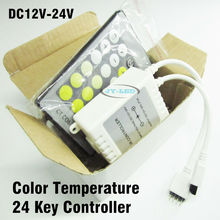 2 Set/lot 24 Key IR Remote CT Controller, DC12-24V Color Temperature Controller For 5050 Double Colour Chip LED Strip Dimmer
