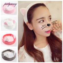 PF Cat Ears Headbands for Women Elastic Hair Band Cloth Headwear Hair Hoop Fascinator Hair Holder Accessories for Girsl TS1074(China)
