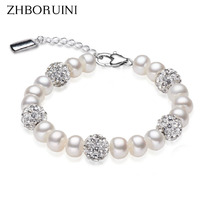 ZHBORUINI 2017 Charm Bracelet Pearl Jewelry Crystaline Bracelets Natural Freshwater Pearl 925 Sterling Silver Bracelet For Women(China)