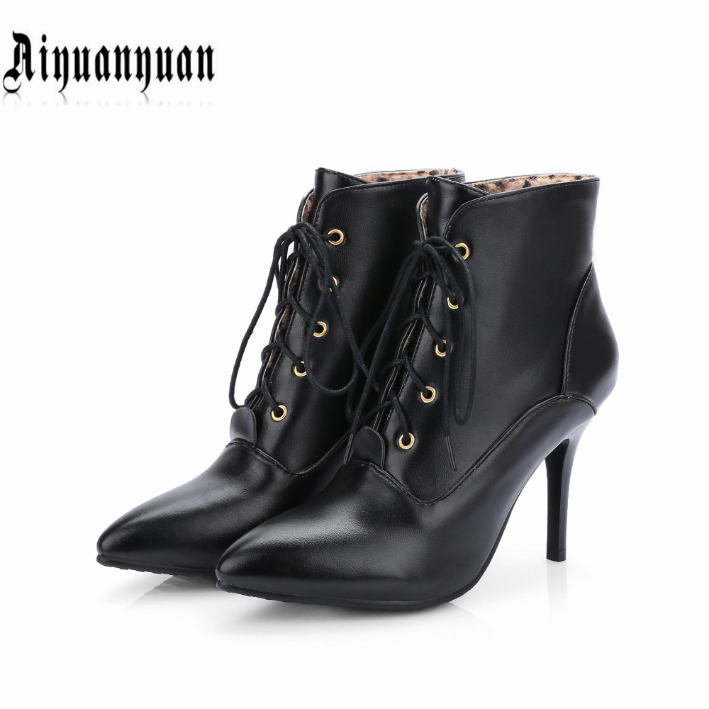 2017 plus Size to 40 41 42 43 44 45 46 handmade women boots high quality PU Pointe Toe design lace-up design shoes free shipping<br><br>Aliexpress