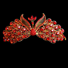 Pageant Prom Wedding Bridal Hair Accessories Bride Head Jewelry Vintage Peacock Crystal Rhinestone Red Royal Crowns Tiaras