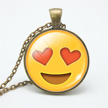1 pc Popular Women Girls Love Heart Cabochon Bronze Glass Chain Pendant Necklace Jewelry Gift