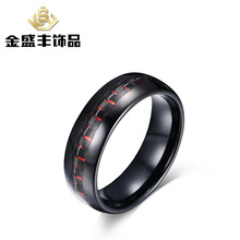 2016 new products men's rings 8mm red+black carbon fiber tungsten steel ring restoring ancient popular jewelry wholesale TCR-021(China)
