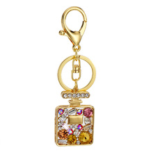 Luxury perfume bottle Crystal HandBag Keyring Keychain For Car Purse Bag Buckle key holder key chains for women the best gift