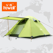 Hewolf Double Layer 3 4 Person Tents Rainproof Waterproof Outdoor Camping Tent Tourist Tent For Hunting Picnic Party Hiking