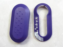 Purple color Remote Key Shell Case cover fit for Fiat 500 Panda Punto Bravo 3 Button Fob 1pc auto parts cover blank