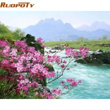RUOPOTY Flower River Landscape Diy Painting By Numbers Handpainted Oil Painting Home Wall Art Picture For Room Decoration 40X50(China)