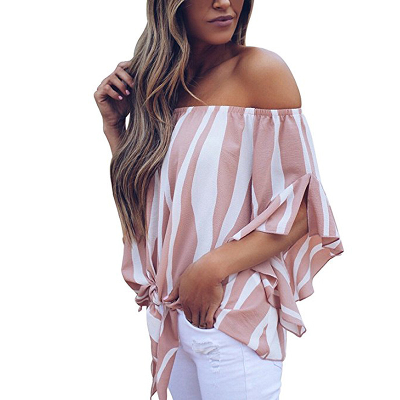 LOSSKY Women's Striped Chiffon Shirts Blouse Sexy Off Shoulders Bandage Women Casual Blusas Shirt 2018 Summer Loose Elegant Tops 15