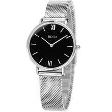BINZI Quartz Silvery Ladies Watch Stainless Stell Watch Women Waterproof Ultrathin Women Watches Relogio Feminino(China)
