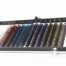 1pc 4 different Gradient colors High quality Synthetic Hair eyelash Extension C curve length 8,10,12mm DIY Grafting Lashes(China)