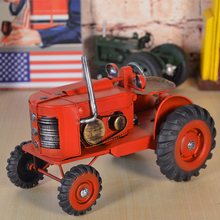 Red Classic Tinplate Handcraft Tractors Collection Showcase Craftwork Handmade Retro Tractors Model