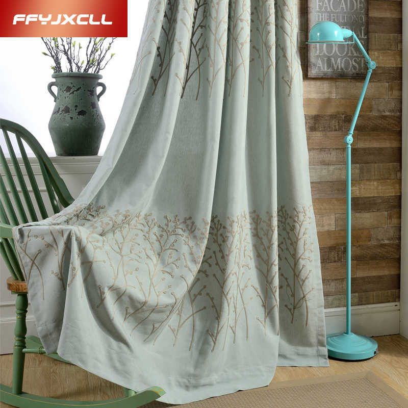 3 Color Tree Cotton Linen Embroidered Blackout Curtains for Living Room Bedroom Tulle Window Curtains for the Bedroom