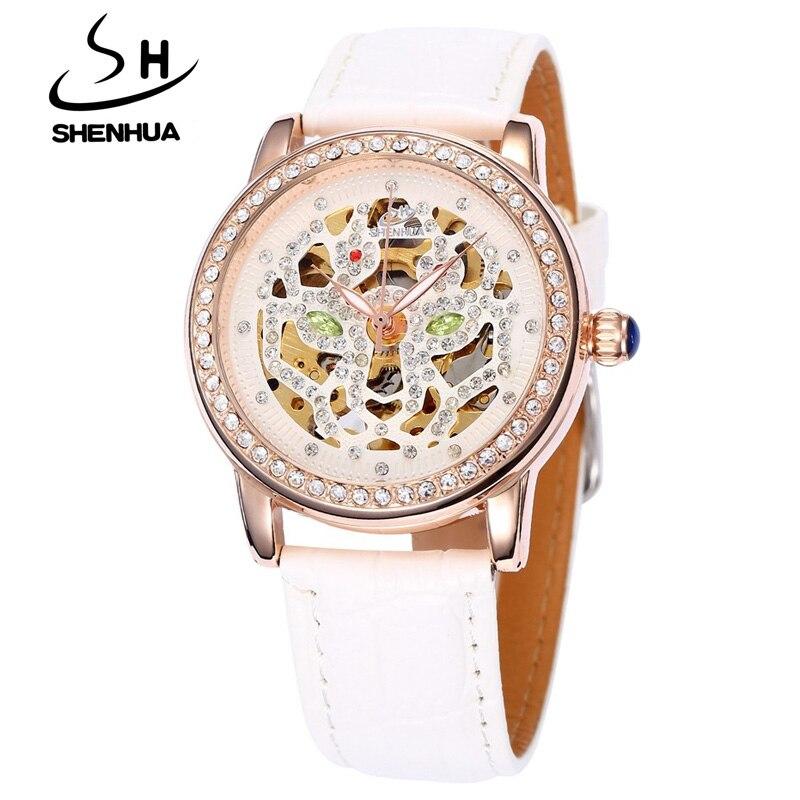 Shanghai Shenhua Watch Women Luxury Rose Gold Hollow Skeleton Automatic Mechanical Watches Ladies Fashion Rhinestone Wristwatch<br><br>Aliexpress