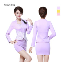 Spring&Autumn OL Women Clothes Set Fashion Airline Stewardess Work Wear 2 Piece Set Skirt And Top Set Vs Love Pink Women(China)