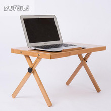 SUFEILE Portable folding laptop desk Natural Bamboo Laptop Table Desk Adjustable Height Folding Table Computer Desk D5
