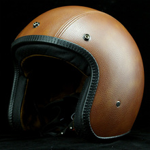 Cafe Racer Harley motorcycle retro leather helmets vintage Open face helmets scooter Jet helmet capacete