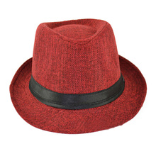 Hot Fashion Ladies Men Summer Beach Hat Sun Jazz Bowler Panama Gangster Cap Colors: Wine Red