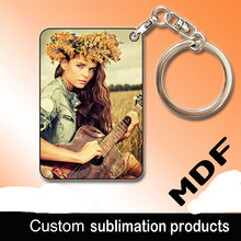 Sublimation blank MDF wooden keychain Thermal transfer can print picture Individuality present custom design key chain wholesale