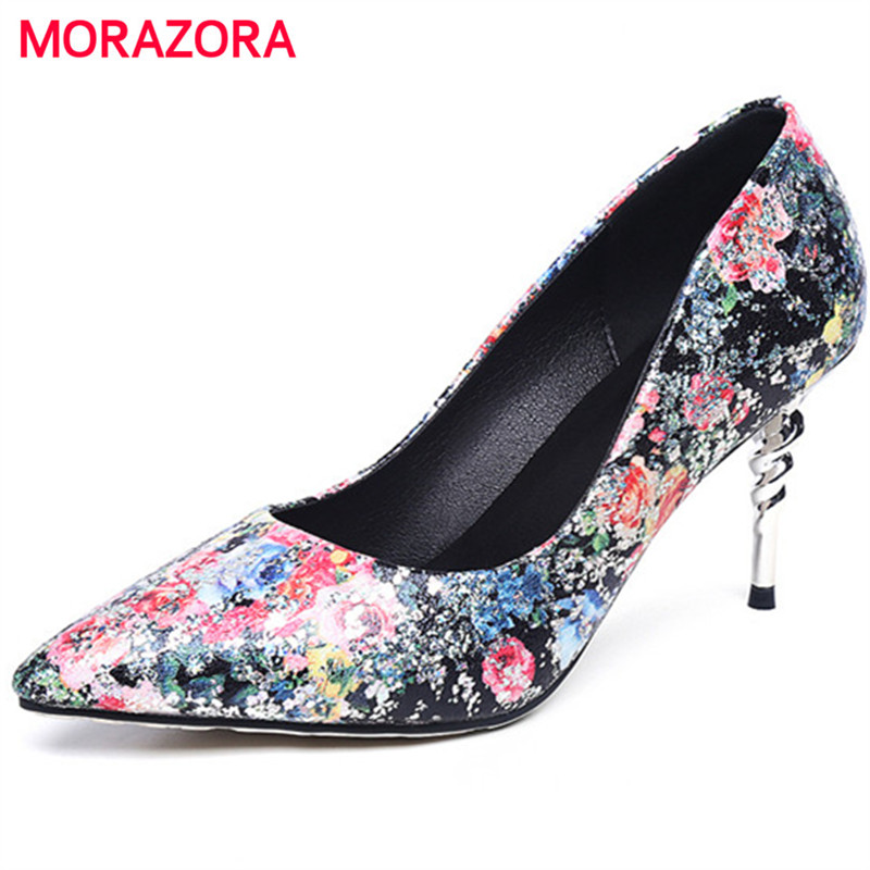 MORAZORA Microfiber printing leather shoes woman spring autumn elegant high heels shoes pointed toe women pumps party wedding<br>