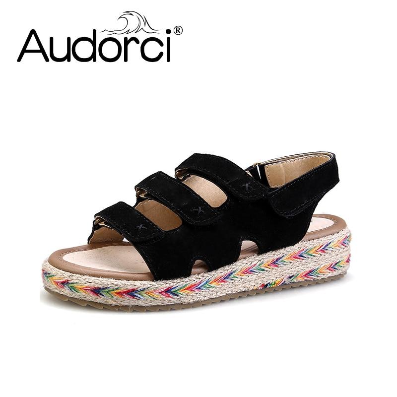 Audorci 2018 Spring Summer Women Roman Light Sandals Flat Shoes Fashion Woman Sandals 4 Colors Size 34-43<br>