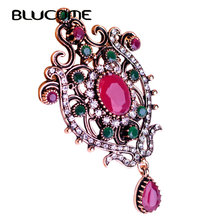 Blucome Vintage Red Hair Accessories Round Resin Water Drop Crown Turkish Hat Brooches For Party Wedding Women Lady Sweater Pin(China)