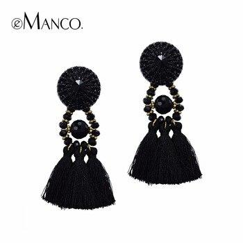 E-Manco Bohême Long Gland Suspendus Boucle Boucles D'oreilles pour femmes Noir Cristal Déclaration Ethnique Boucle D'oreille bijouterie Bijoux