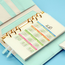 Colorful PVC 2018 calendar for 6 holes dividers accessories candy office school stationery index Notebook Planner Agenda
