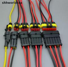 shhworldsea 5 sets Car Auto 1 2 3 4  5 6 P Pin Way auto connector HID socket with cable Sealed Waterproof Wire Connector