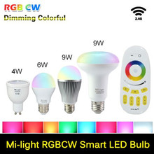 Dimmable Milight Led E27 GU10 Mi Light 110V 220V RGB Led Bulb Lamps 4W 6W 9W RGB + WW White lamparas leds With WiFi Controller(China)
