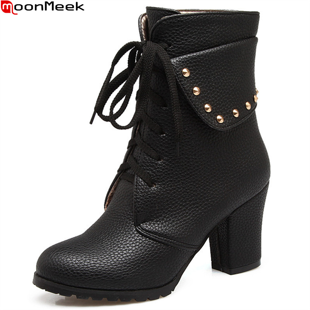 MoonMeek 2018 hot sale new arrive women boots round toe lace up ladies boots black white Light brown ankle boots plus size 33-45<br>