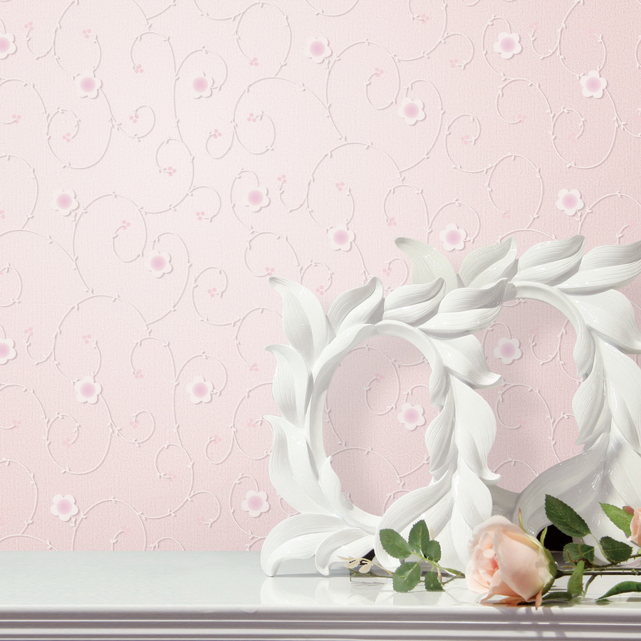 Pastoral Pink Floral Wallpaper 3D Foam Embossed Flocking Non-Woven Wall Paper Wedding Room Livingroom Mural Wall Covering<br>