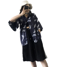 Summer ladies Harajuku boyfriend wind crane printed cardigan loose shirt female top blouse(China)