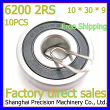 10PCS 10mm Diameter Deep groove ball bearing 6200 2RS 10mmX30mmX9mm Double rubber sealing cover ABEC-1 CNC,Motors,Machinery,AUTO