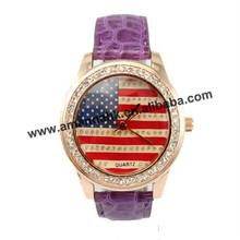 100pcs/lot fashion woman rhinestone leather wrist watches American flag wristwatch world cup crystal watch(China)