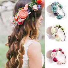 New High Quality Peony Women's Bohemian Floral Headbands Flower Party Wedding Hair Wreaths Hair Band Ornaments Beach Wrape(China)