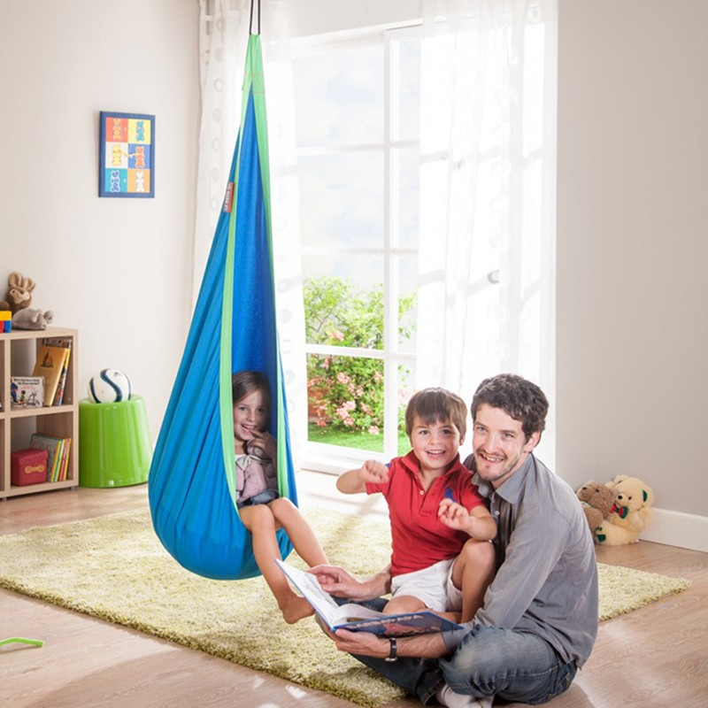 Children Hammock Inflatable Cushion Garden Swing Chair Indoor Outdoor Hanging Seat Child Swing Seat Patio Hammock Furniture Blue<br>