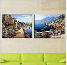 Modern Wall Artwork Oil Painting Prints Decorative Pictures for Living Room Mediterranean Seascape Oil Canvas Unframed 2PCS/Set