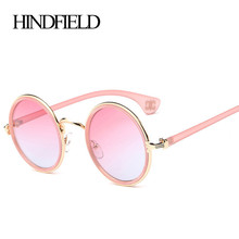 HINDFIELD Pink Round Sunglasses Women Brand Designer Vintage Sun Glasses For Woman Retro Female Steam Punk Sunglasses(China)