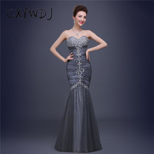 New Fishtail Long Section Dinner Formal Gray Net Yarn Crystal Sequins Fashion luxurious Ladies High-end Evening Wear Dresses(China)