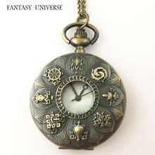 FANTASY UNIVERSE Freeshipping wholesale 20pc a lot Alice in Wonderland Pocket Watch necklace Dia3.7CM CCFGF05